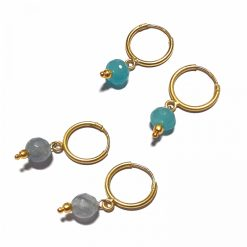 Silver Bali Set of 2 Combo with Grey Chalcedony and Blue Chalcedony Gold Polished Bali in Pure Silver 925 | Earrings for Women