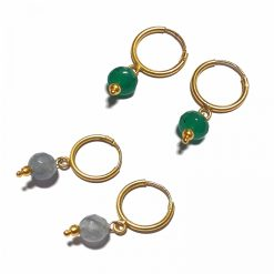 Silver Bali Set of 2 Combo with Grey Chalcedony and Green Chalcedony Gold Polished Bali in Pure Silver 925 | Earrings for Women