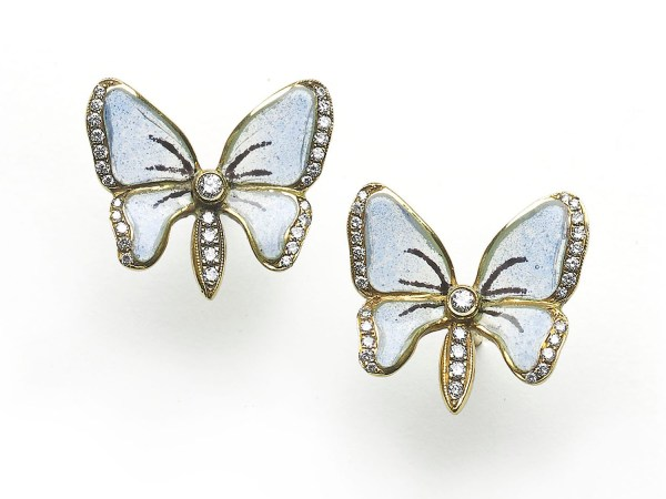Moira Blue Enamel Diamond Butterfly Earrings Jewellery