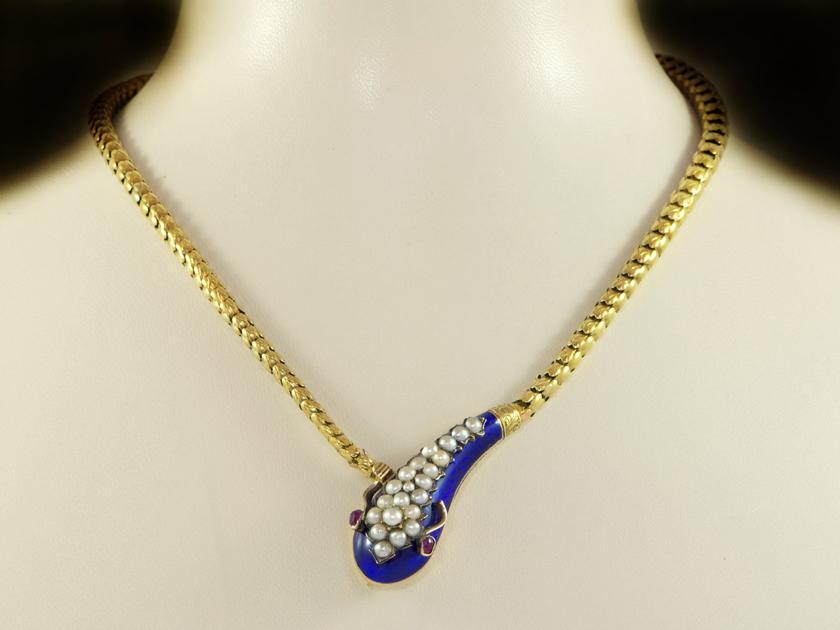 Antique Victorian Blue Enamel Gold Snake Necklace
