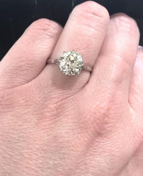 antique old cushion cut diamond ring 2 91 carats