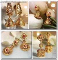 Designer Gold Earrings Tanishq Tanishq Bridal Jewellery ...