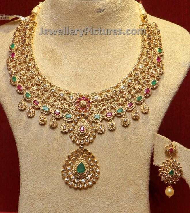 Uncut Diamond Necklace and Uncut Earrings