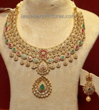 Uncut Diamond Necklace and Uncut Earrings