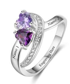 Engraved birthstone Rings for Mom or Girls