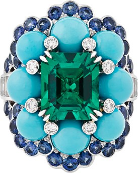 Ancone Ring. White gold, platinum, round and baguette-cut diamonds, sapphires, turquoise beads, one octogonal emerald of 3.28 carats (Colombia).