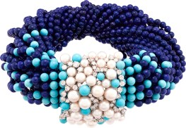 Rouleau Azur Necklace. White gold, diamonds, white cultured pearls, lapis lazuli and turquoise beads.