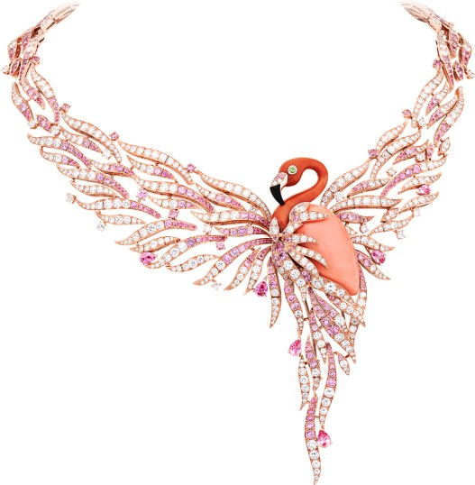 Flamant Corail Necklace. Pink gold, round diamonds, round and pear-shaped pink sapphires, round peridots, pink and red coral, onyx. The clip is detachable.