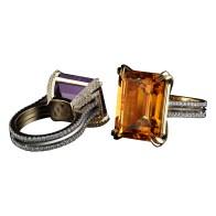 Medi Honey Citrine and Diamond Ring; Medi Purple Amethyst and Diamond Ring.