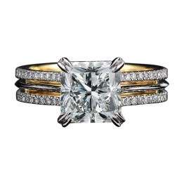 A Radiant-cut Diamond ring comprised of a 3.00 carat Radiant-cut center Diamond, enhanced by Alexandra Mor's signature details of 1mm knife-edged wire and 1mm 'floating' Diamond melee encircling the center Diamond. Platinum set around an inner band of 1mm 18-karat yellow gold. 3.65 total carat weight. Signed by artist. Crafted in the USA. Limited-Edition 1/50.