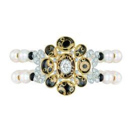 """Mystérieuse"" bracelet in 18K white and yellow gold set with diamonds, cultured pearls, rock crystal cabochons and black lacquer. CHANEL Joaillerie"