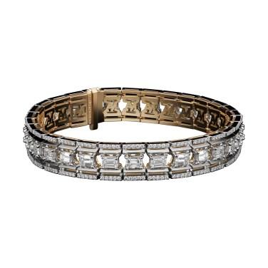 Emerald-Cut Platform Diamond Bracelet