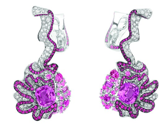 Fronce Saphir Rose Earrings. 750/1000 white gold, diamonds, pink sapphires and rubies.