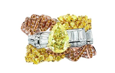 Smock Diamant Jaune Ring. 750/1000 yellow gold, white and pink gold, diamonds, yellow and orange diamonds.