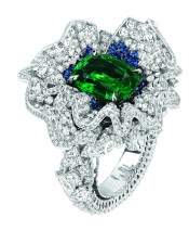 Volant Emeraude Ring. 750/1000 white gold, diamonds, sapphires and emeralds.