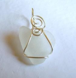 white sea glass heart pendant €20