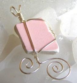 pink sea pottery pendant €20