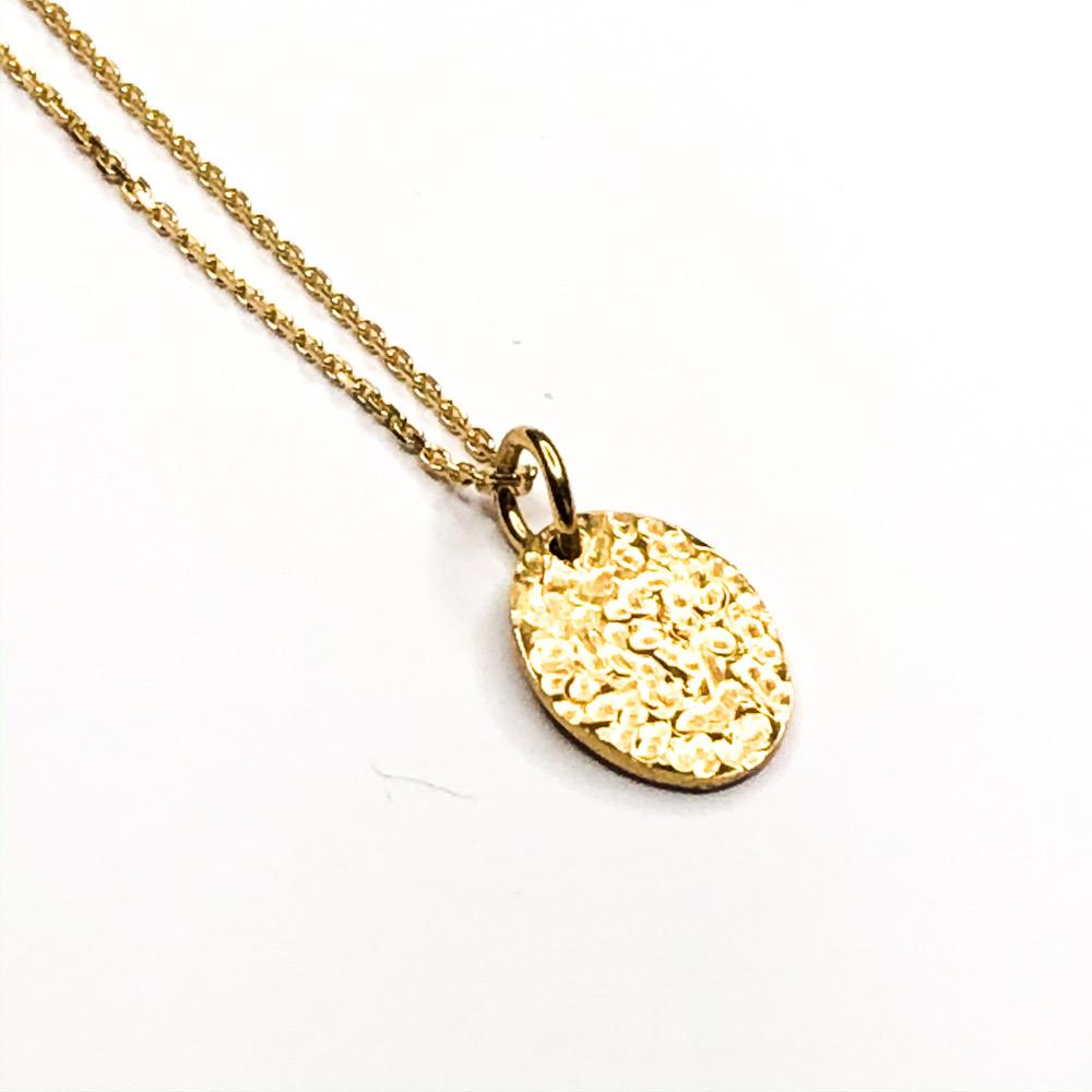 Sparling mirror i guld med halskæde, smukt ovalt vedhæng