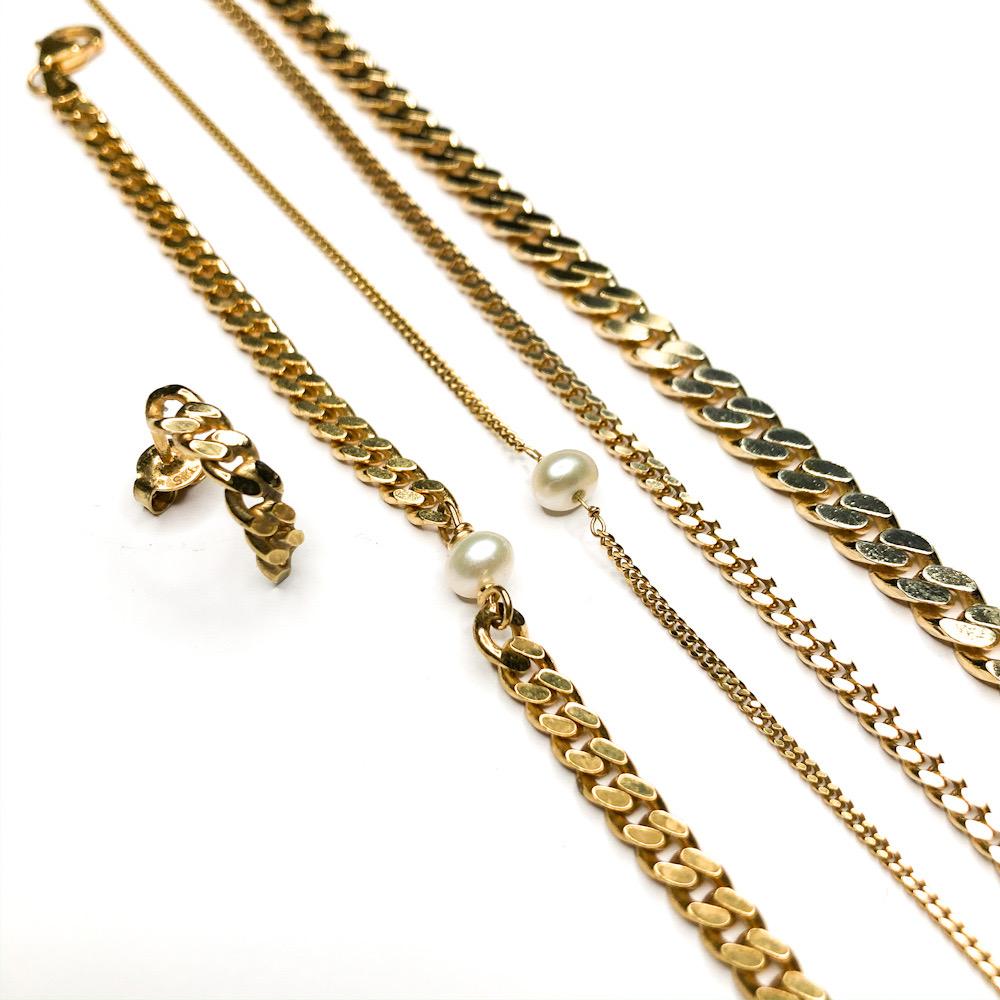 Panserkæde smykker en simple panser creol, et armbånd månedsarmbånd med perle June armbånd. Tynd panserkæde med perle June chain, tynd panser kæde og tyk panser kæde