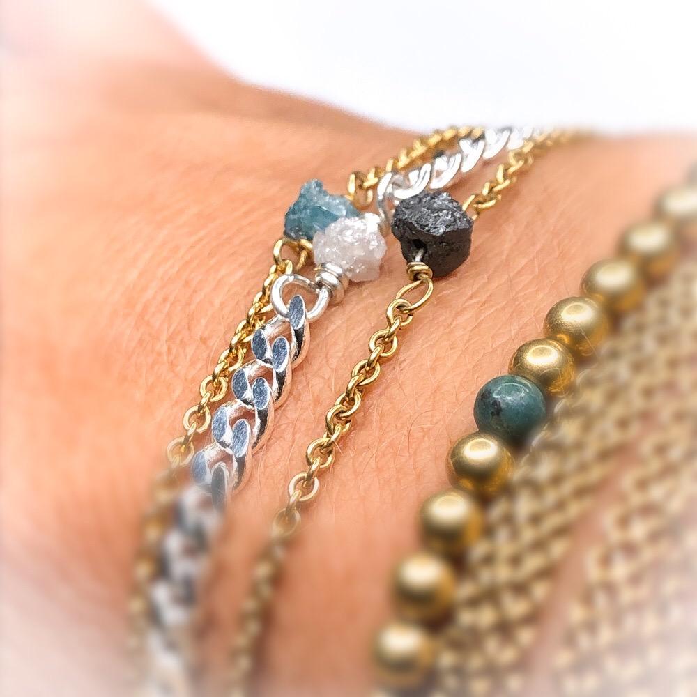 Blandning af de 2 typer rough diamand bracelets