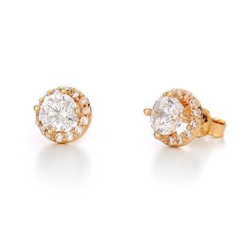 Σκουλαρίκια Μονόπετρο Χρυσά Με Στεφάνι Ζιργκόν