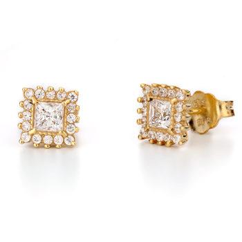 Σκουλαρίκια Κλασικά Χρυσά Με Ζιργκόν