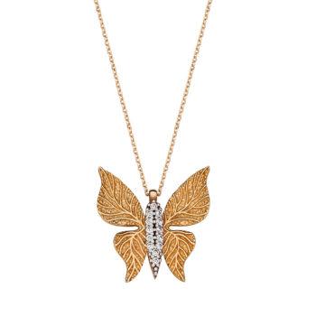 Κρεμαστό Πεταλούδα Χρυσός Με Ζιργκόν Ανάγλυφο