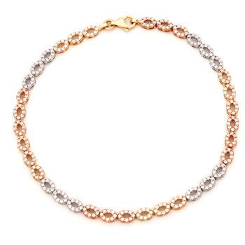 Βραχιόλι Κίτρινος, Λευκός και Ροζ Χρυσός Με Ζιργκόν 14K