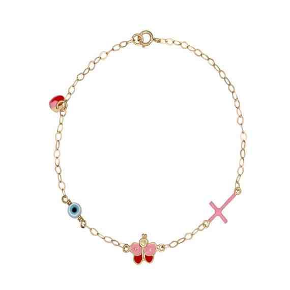Βραχιόλι Πεταλούδα, Σταυρός Και Ματάκι Χρυσό Με Σμάλτο 002852