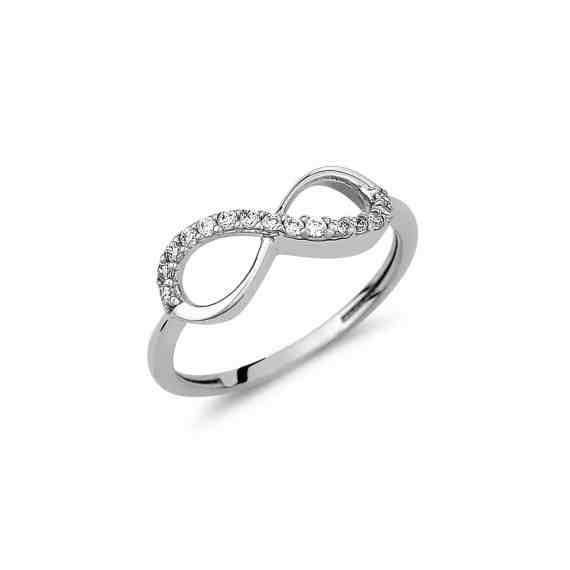 Δαχτυλίδι Άπειρο Λευκόχρυσο Με Ζιργκόν 002947