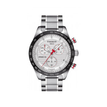 Tisot PRS 516 Silver-Black-Red Chronograph Men's Watch – T100.417.11.031.00