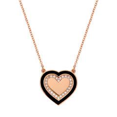Μενταγιόν-Καρδιά Ροζ Χρυσό Με Ζιργκόν Και Σμάλτο