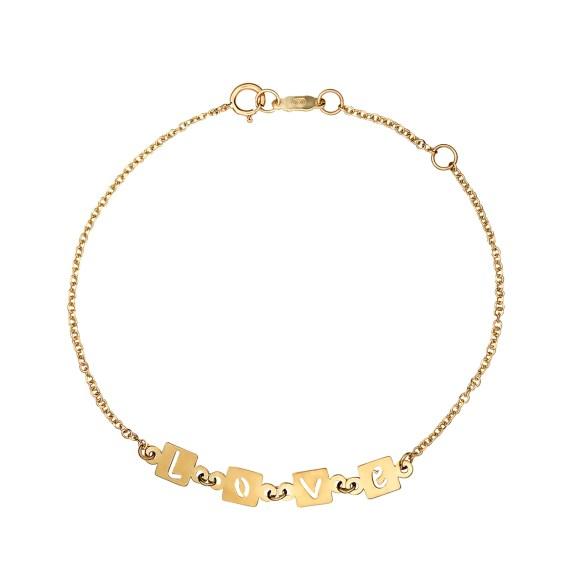 Βραχιόλι Αλυσίδα Love Διάτρητο Χρυσό 003084 Jewelor