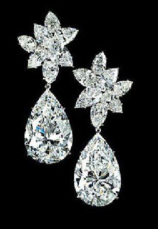 Pear Shaped Diamond Earrings By Jewelry Designer Graff