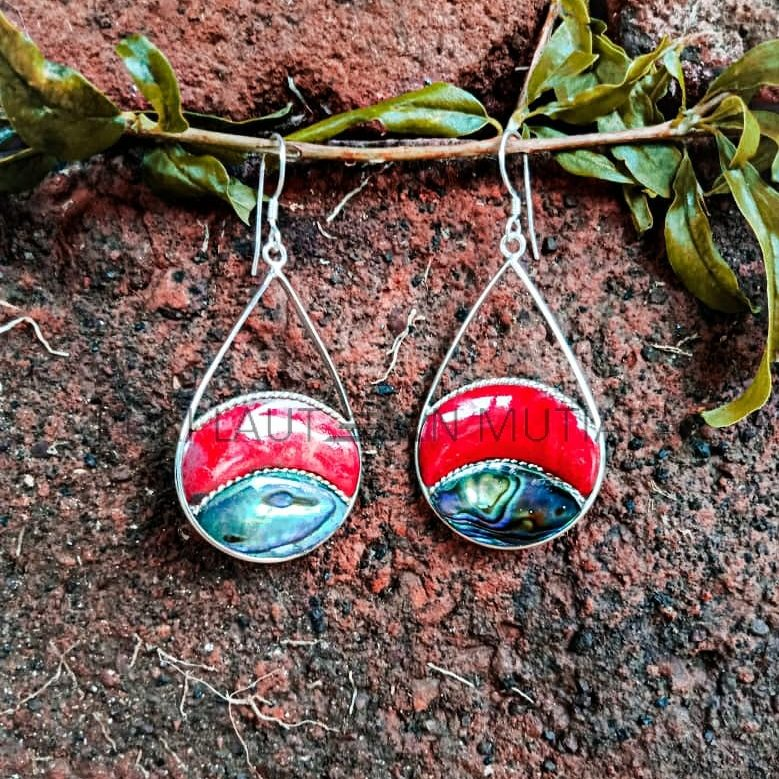 PLE022-Silver Drop Frame With Coral and Abalone