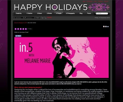 5pointmagazine.com featured MELANIE MARiE December 2010