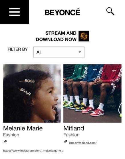 Melanie Marie featured on Beyonce's website June 2020