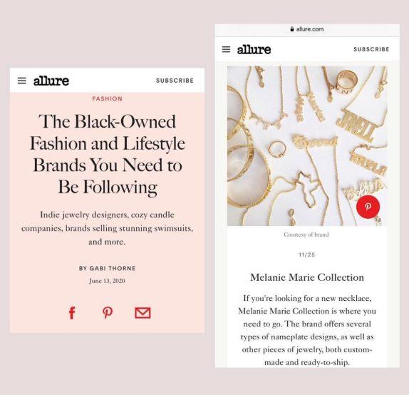 Melanie Marie featured on Allure June 2020