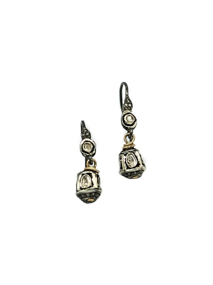 rose cut diamond bell drop earrings