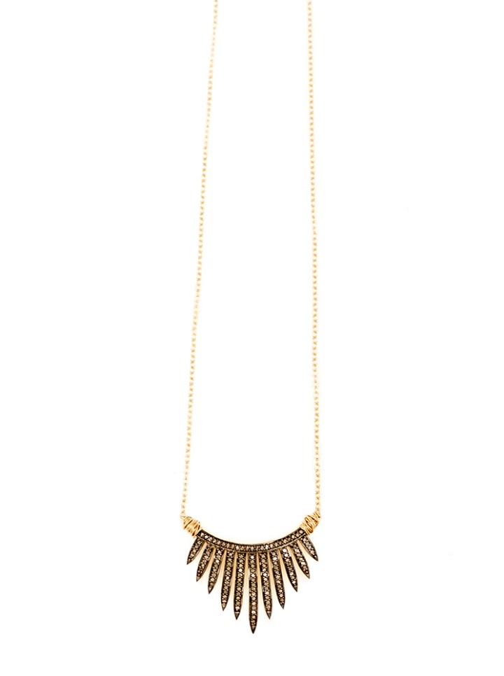 pave diamond crown short hand wrapped necklace