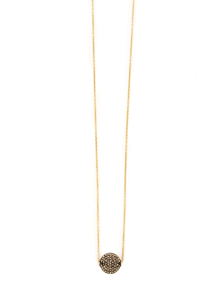 pave diamond coin deli necklace