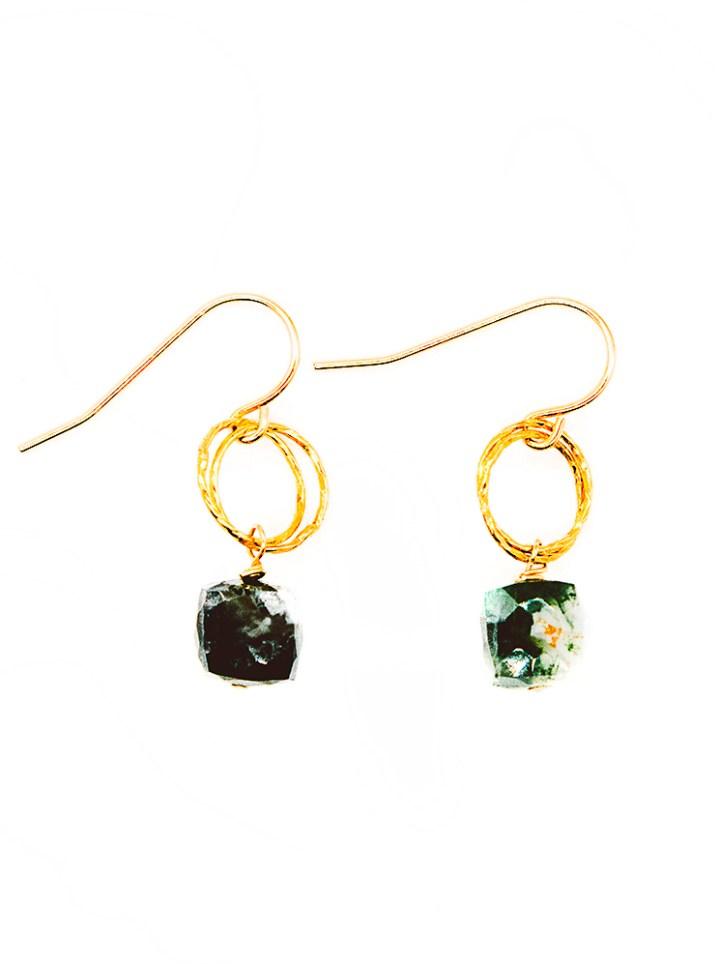 moss agate stardust drop earrings