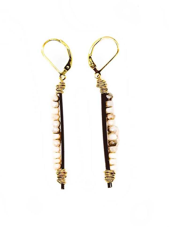 silverite rondelle bar earrings