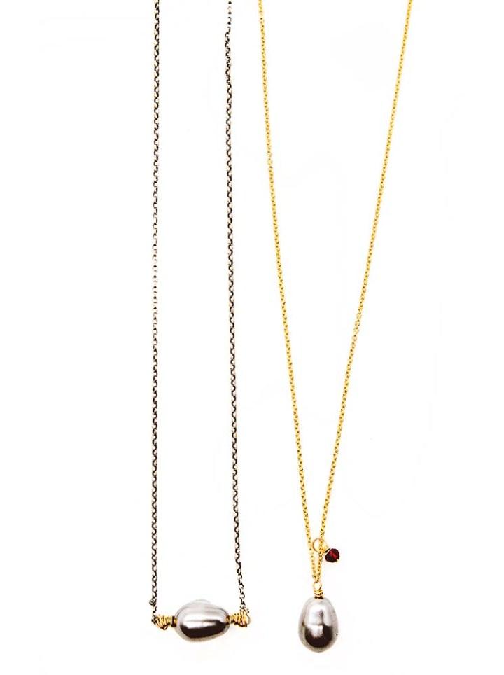 gray pearl short necklace, gray pearl and garnet deli necklace
