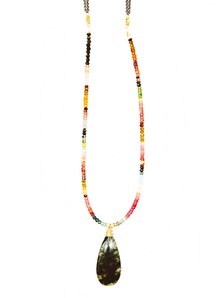 watermelon tourmaline strung necklace