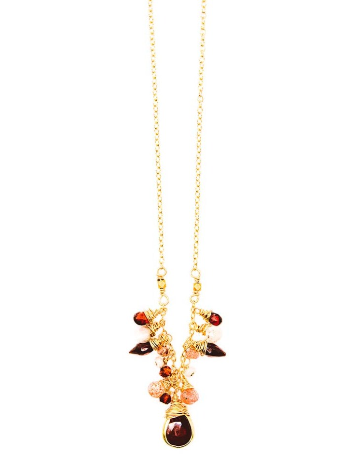 garnet strawberry quartz, silverite cluster u necklace