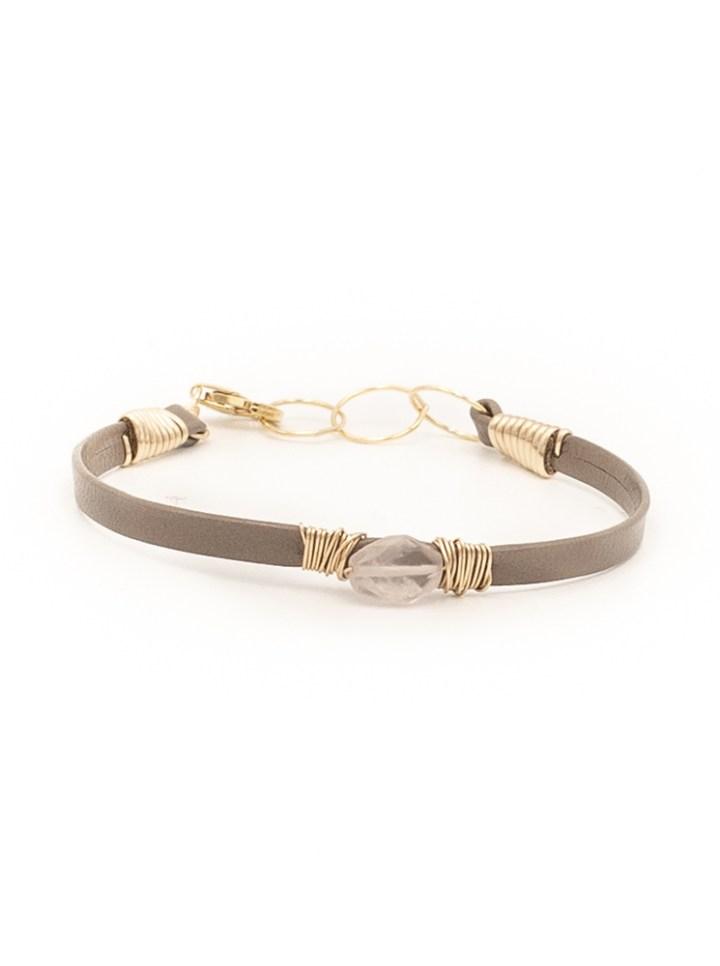 rose quartz thin leather wrapped bracelet