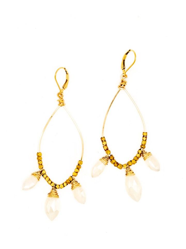 pearl chalcedony chandelier hoops