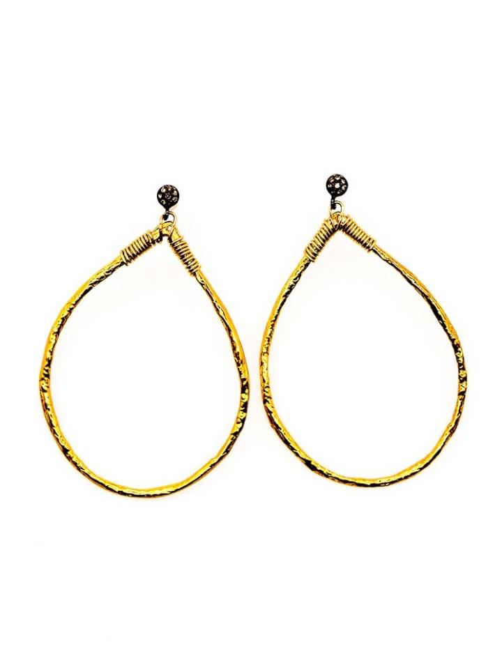 pave diamond tear hoops