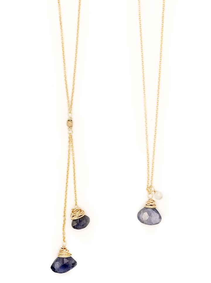 iolite fan delicate necklaces